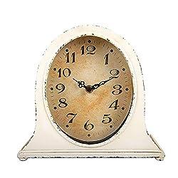 Creative Co-Op Metal Distressed White Finish Mantel Clock