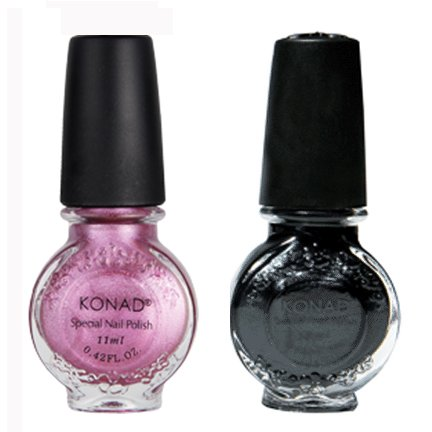Bundle – 3 Pièces : stamping nail art special 2 classique Noir, Innove Rose + Lime à ongles