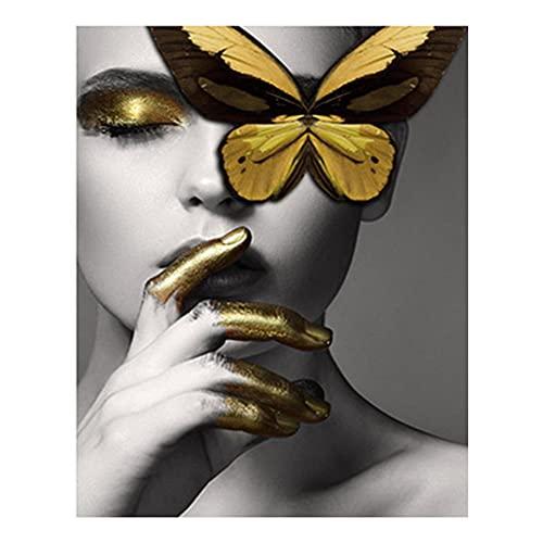 5D Diamond Pintura De Diamantes Pintura De Diamantes Mariposa Tigre Belleza Bordado De Diamantes Retrato Hecho A Mano Imagen De Diamantes De Imitación Decoración Del Hogar Regalo 40x50cm