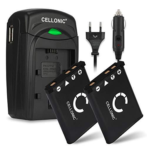 CELLONIC 2X Batería Compatible con Fujifilm Fuji XP90 XP120 XP80 XP10 XP20 XP22 XP30 XP50 XP70 T360 FinePix J10 Z90 Z70 Instax Mini 90 Neo Classic SQ20, Pila NP-45 Cargador BC-45 Cable Carga Coche