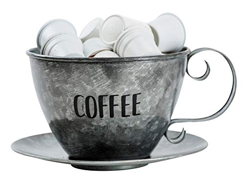 Boston Warehouse 35627 Cup & Saucer Coffee Pod Storage, Galvanized Metal