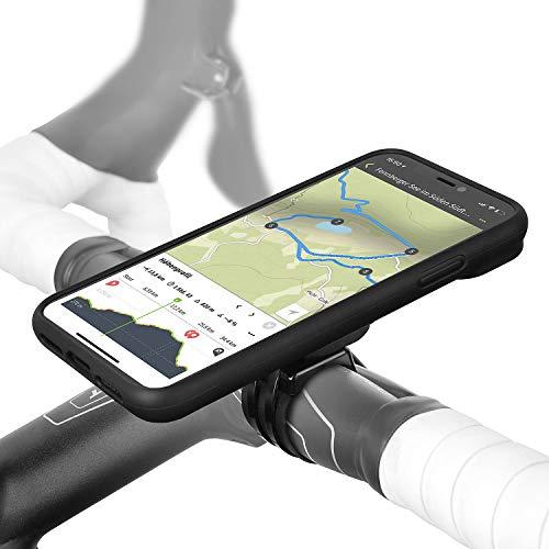 Wicked Chili QuickMOUNT Fahrrad Halterung kompatibel mit iPhone X Lenker/Vorbau Befestigung mit Rain Case und Schutzhülle für iPhone XS für MTB Rennrad Motorrad Navigation (5,8 Zoll) schwarz