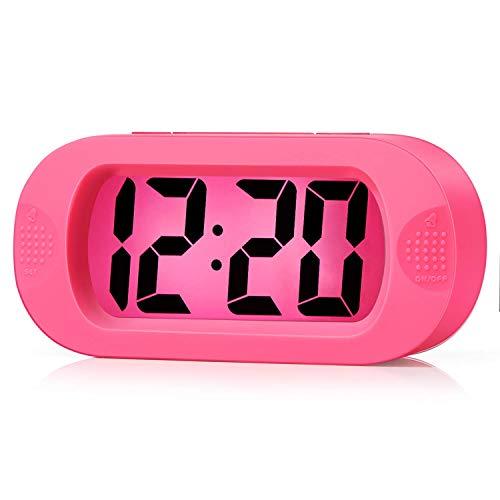 Plumeet Orologio-Sveglia da Viaggio LCD, Sveglia Digitale, con Cover Protettiva in Silicone, Buona Retroilluminazione e Funzione Snooze, Alimentato a Batteria (Rosa)