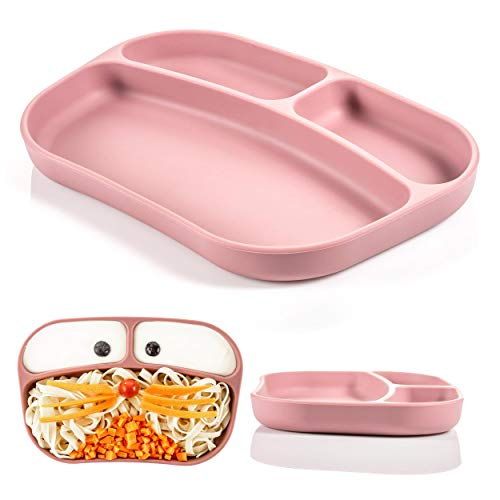 MiaMia Baby Silikon Teller mit Fächer - bruchsicherer Babyteller mit Unterteilung/Stabiler Kinderteller für Tisch und Hochstuhl, spülmaschinenfest - Rosa