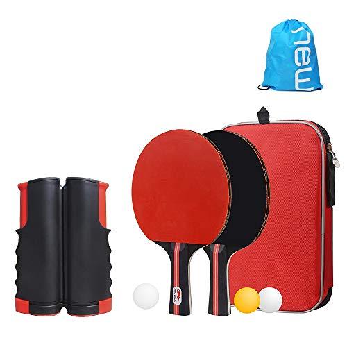 ポータブル 卓球 ラケット 卓球ネット セット ラケット2本 ピンポン球3個 伸縮ネット 収納袋付き 手軽 簡単設置 セット