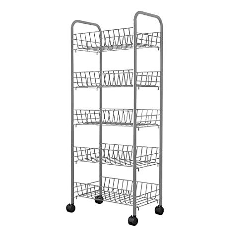 Isyunen Carro de almacenaje con 5 estantes de metal, estantería de 5 niveles con ruedas, carro para ahorrar espacio con 4 ruedas giratorias, para cocina, baño, oficina, color negro