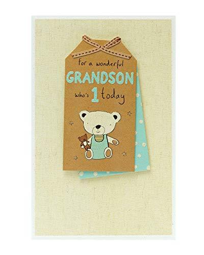 Kleinzoon 1e Verjaardagskaart - Verjaardagskaart voor kleinzoon 1-1e Verjaardagskaart voor jongen - Verjaardagskaart Leuke Teddy - Verjaardagscadeaus leeftijd 1 Jongens