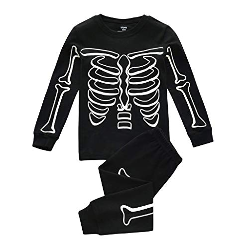 Janly Liquidación Venta 0-10 años Bebé Top Pantalones Set Niño Pijamas Niños Niños Brillan en la Oscuridad Halloween Esqueleto Conjunto de ropa de dormir de algodón para 6-7 años (Negro)