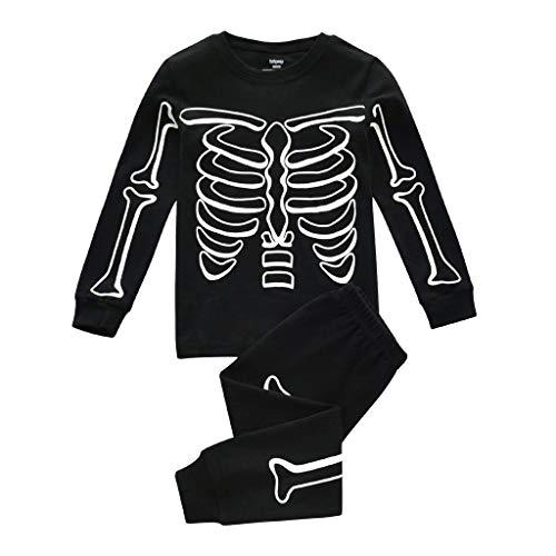 Muium(TM) Kleinkind Kinder Pyjama Jungen Glow in Dark Halloween Skelett Baumwolle Nachtwäsche Set