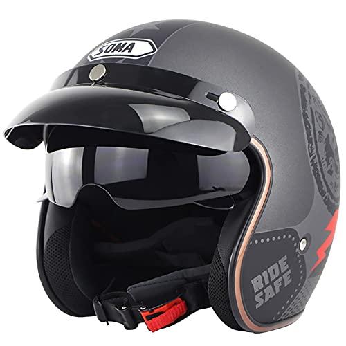 Motorrad Halbhelme Brain-Cap · Halbschale Jet-Helm Roller-Helm ECE-Zertifizierung Scooter-Helm Mofa-Helm Retro Motorrad Half Helm mit Built-in Visier für Cruiser Chopper BikerHelm D,XXL=62~63cm