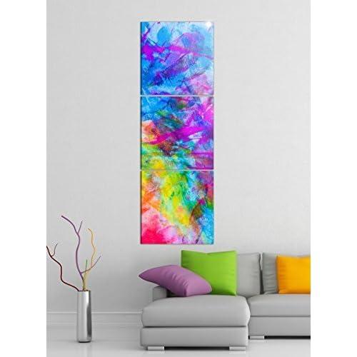 Leinwandbild 3tlg abstrakt Kunst bunte Farben Bilder Druck auf Leinwand Vertikal Bild Kunstdruck mehrteilig Holz 9YA3730, Vertikal Größe:Gesamt 40x120cm