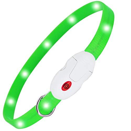 kolpop LED Leuchthalsband Hund, Hundehalsband Leuchtend USB Wiederaufladbar Led Halsband für Hunde Längenverstellbarer Hunde leuchthalsband 3 Modus Halsband Hund Leuchtend für Hunde und Katzen - Grün