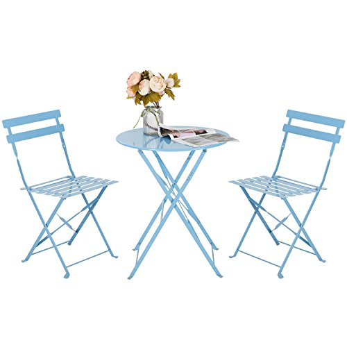 HollyHOME Outdoor Balcony Folding Steel Bistro Furniture Sets, Patio 3-Piece of Foldable Table and Chairs, Blue