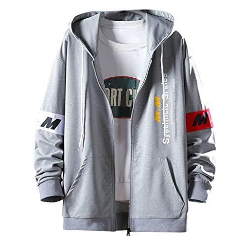Preisvergleich Produktbild Rabbiter Herren Hoodie Sweatshirt Jumper Patchwork-Mantel Pullover Langarm Kordelzug Kapuzenmantel mit Zip und Doppeltasche (Grau