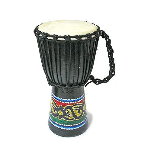 アジアの楽器 ジャンベ [太鼓] H.40cm ドットペイント黒 インテリア アジアン バリ タイ エスニック 民族 ドラム 雑貨