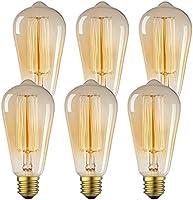 Antique Vintage Edison Bulb 6 Pack - 60 watt - 60 watt Vintage Light Bulb - ST64 - Squirrel Cage Filament - 280 Lumens -...
