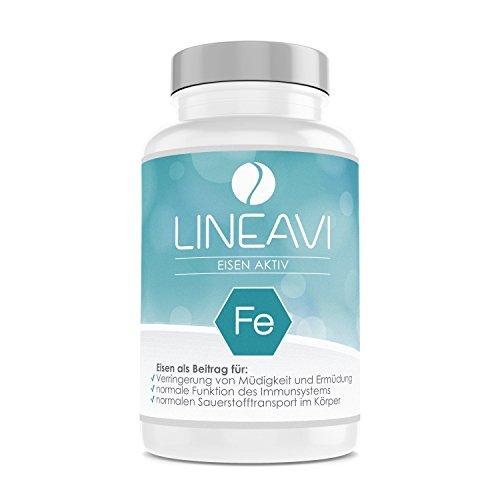 LINEAVI Ferro Attivo, ferro, vitamina C e vitamine del gruppo B, sostiene il sistema immunitario, contro la stanchezza, made in Germany, 120 pastiglie di ferro vegane (confez. scorta per 4 mesi)