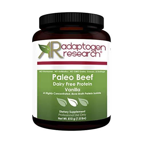 Adaptogen Research Paleo Beef Protein Powder   Vanilla Pure Grass-Fed Beef Collagen Peptides   21Grams HydroBEEF Protein with Collagen   30 Serving 810 Grams (1.8 LBS)
