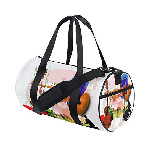 Musica chiave di violetto, tromba chitarra barilotto borsone palestra borsa per donne uomini, viaggi sport campeggio danza borse a tracolla