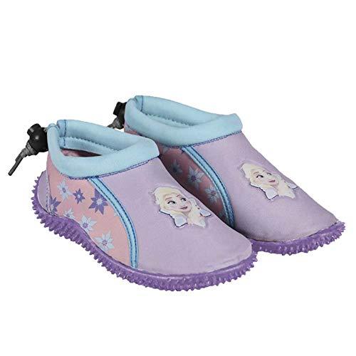 Disney Chaussures Aquatiques La Reine des Neiges - Protègent Les Pieds des Enfants - Cordon de Serrage Ajustable à l'arrière pour Un Maintien (29 EU)
