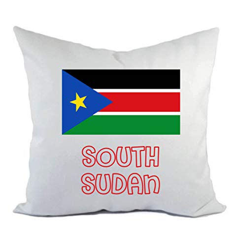 Typolitografie Ghisleri kussen wit South Sudan met vlag kussensloop en vulling 40 x 40 cm van polyester
