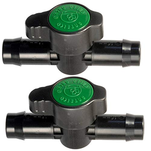 2-Pack in-Line Barbed Ball Valve 16mm for 1/2 and 5/8 Inch Tubing (.570 to .620 ID) - Regulate and Shut-Off/On Water Flow