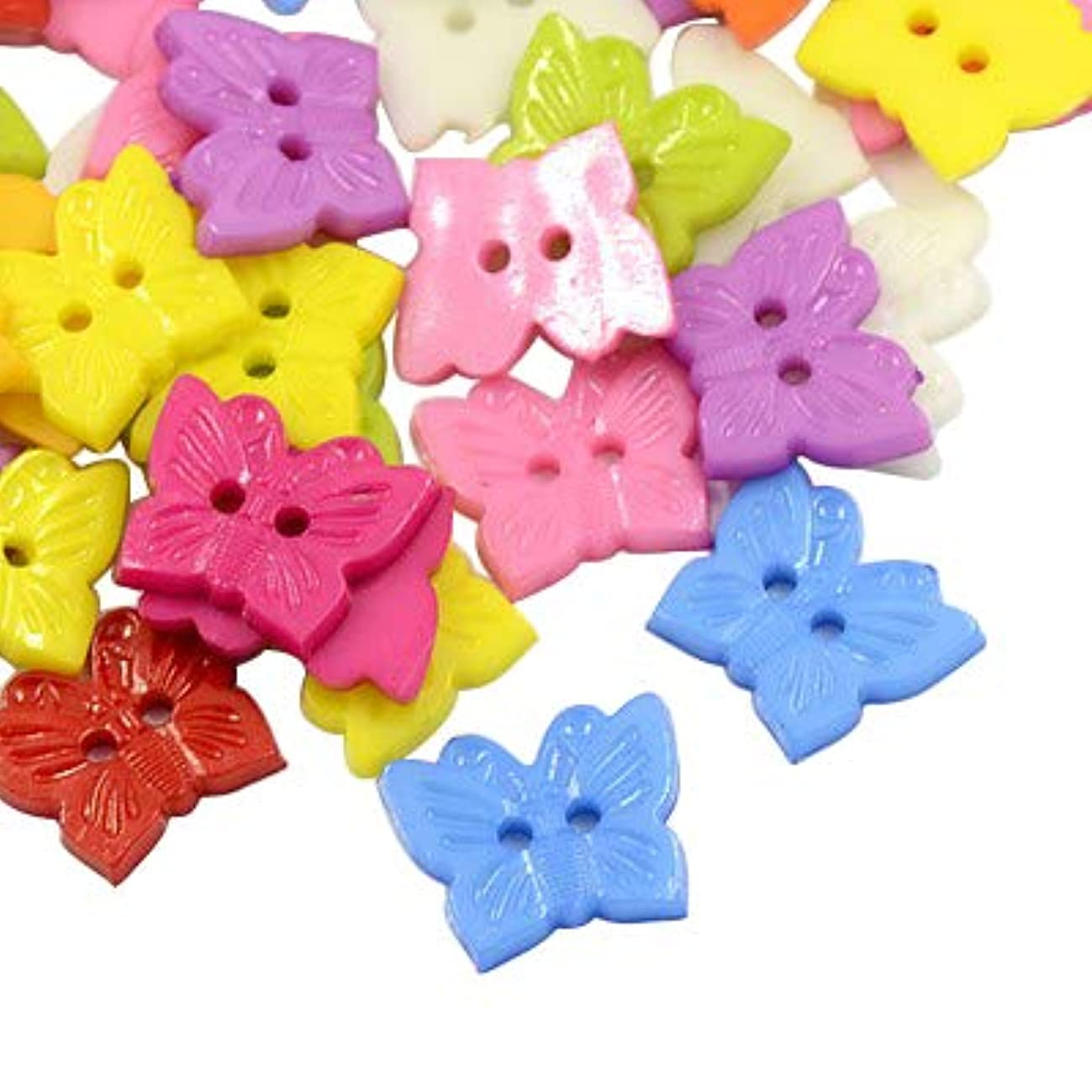PH PandaHall 1000Pcs Acrylic Butterfly Blazer Buttons 2 Holes Dyed Sewing Button for DIY Craft (Mixed Color)