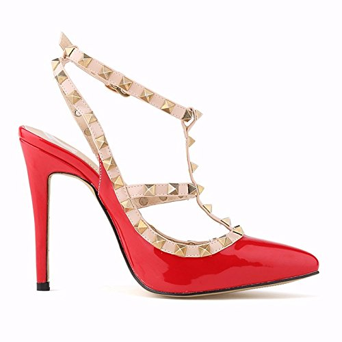 Walid-women fashion sexy personality hollow rivets stitching fine with high-heeled shoes Wedding ( SIZE 6 )
