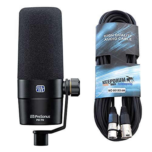 Presonus PD-70 - Micrófono de podcast dinámico (incluye cable XLR keepdrum de 6 m)
