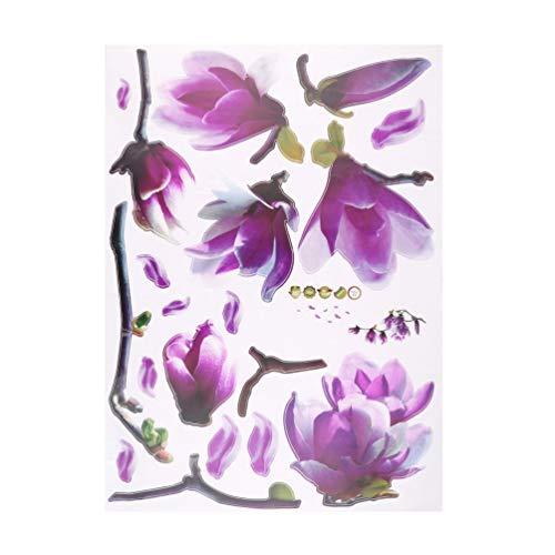 SwEEPID Hot Search 1 pieza exquisita moda flores de magnolia arte mural de vinilo extraíble decoración del hogar sala de pared pegatinas telón de fondo de TV, multicolor