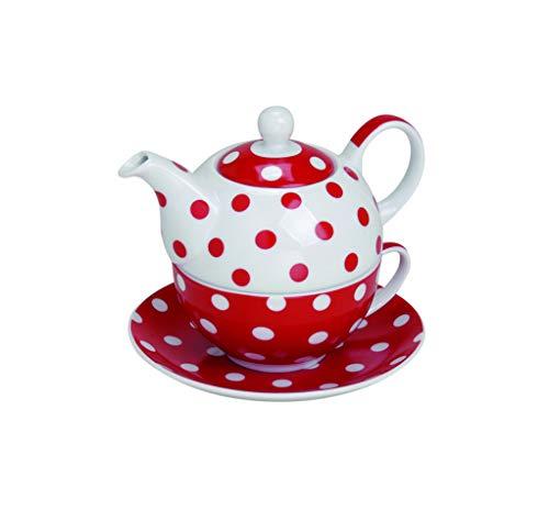 Wurm Teekanne mit Tasse Teetasse und Untersetzer Teller Tea for ONE Set rot gepunktet 15x14 cm aus Porzellan Geschenkset