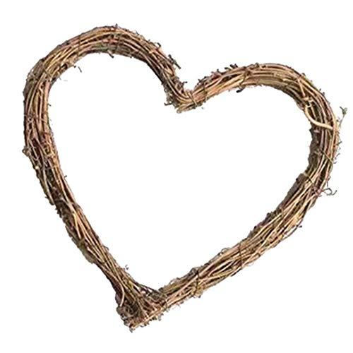 Corona a forma di cuore Corona Anello cornice naturale Rattan Cuore Porta cerimonia nuziale della festa di Natale della casa della ghirlanda Hanging Decoration