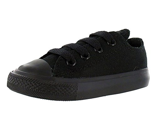 Converse unisex-child Chuck Taylor All Star Low Top Sneaker, black monochrome, 9 M US Toddler