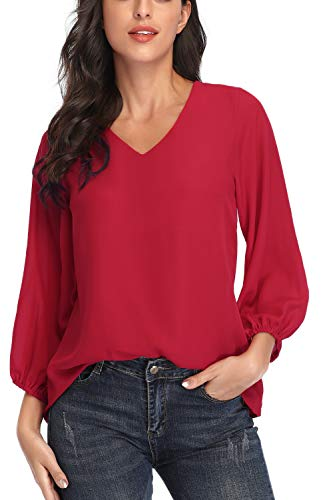 Womens V Neck Chiffon Blouses Casual Balloon Sleeve Floral Print Shirts Tops red-XL