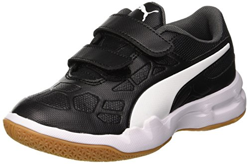 Puma Unisex-Kinder Tenaz V Jr Multisport Indoor Schuhe , Schwarz (Puma Black-Puma White-Iron Gate-Gum) , 28 EU
