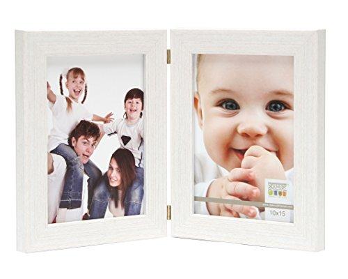 Deknudt Frames S41VF1-H2V-10.0X15.0 Bilderrahmen, aufklappbar, für 2 Fotos, Hochformat, Weiß 19,4 x 15,1 x 1,6 cm