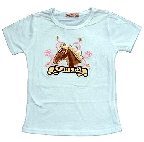 Mädchen T-Shirt mit Pferde Stickerei in Weiß, Gr. 98/104, MS1230.4e