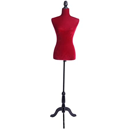 Alger Max Half-Length Female Molded Display Mannequin Torso Manikin Body Dress Form with Wooden Adjustable Tripod Base Stand for Clothing Dress Jewelry Display Black