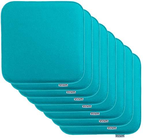 Brandsseller Cojín de fieltro rectangular para silla, 35 x 35 x 2 cm (pack de 8 unidades), color turquesa ✅