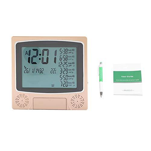 Wecker, digitale automatische Azan-Uhr Islamische Gebetstischuhr Islamische muslimische Gebetstischuhr Schreibtisch mit mehreren Funktionen Gebetszeiten, Temperatur, muslimischer Mondkalender und Welt