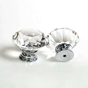 Crystal Glass Diamond Door Knobs Drawer Wardrobe Pull Handle Cabinet Knob Pulls