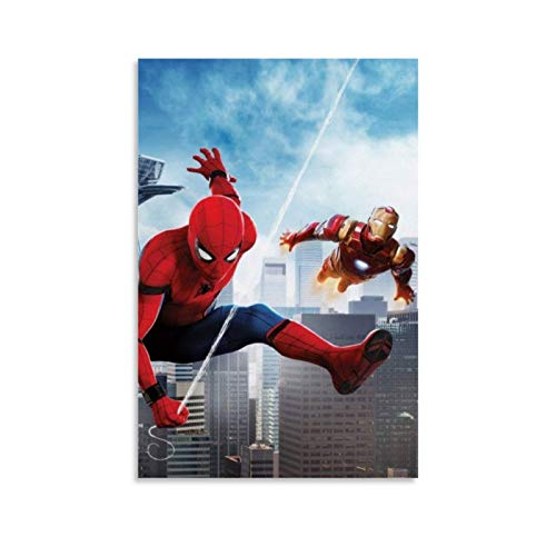 Ghychk Spider-Man – Póster de superhéroe de Iron Man – Pintura al óleo de alta definición sobre lienzo para sala de estar, dormitorio, listo para colgar 50 x 75 cm