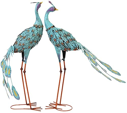 Desktop-Skulptur Schmiedeeisen Peacock Skulptur Blau Pfau Vogel Statue Outdoor Schmiedeeisen Tier Statuette Garten Woodland Dekoration Ornamente (Color : 2pcs)