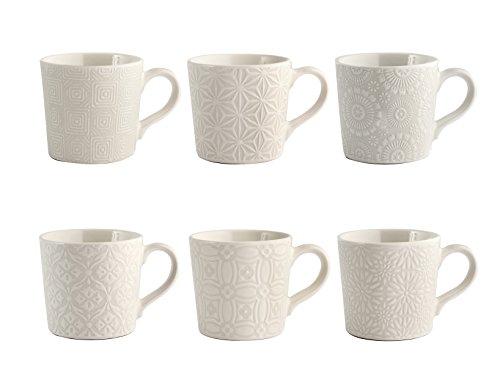 6 tasses café en stoneware décor assorti sans assiette 80 ml