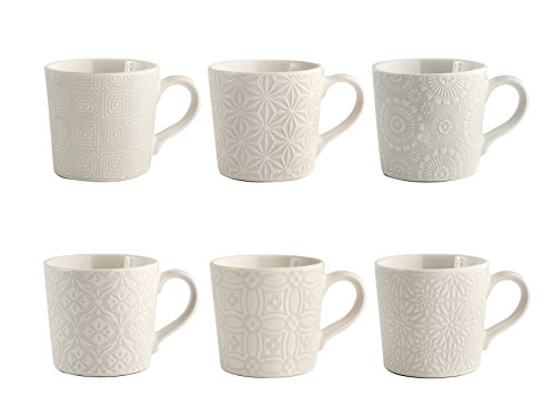 H&H Silhouette Set 6 Tazzine Caffè, Stoneware, Bianco, 80 ml