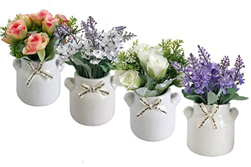 QUICN Artificial Plants with Ceramic Pots,4 Packs Mini Fake Rose and Lavender Flowers,Artificial Flowers for Home Decor, Offices Desk,Bathrooms,Balcony and Kitchen Decor Indoor or Outdoor Decoration