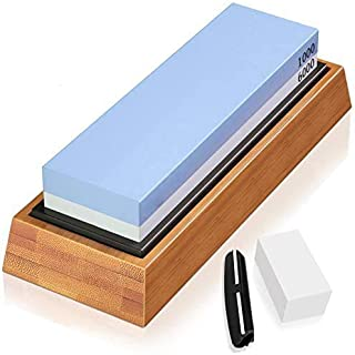Knife Sharpening Stone Dual Side Grit 1000/6000 Whetstone with Angle Guide, NonSlip Bamboo Base, Flattening Stone Water St...