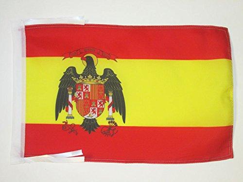 AZ FLAG Bandera de ESPAÑA 1977-1981 45x30cm - BANDERINA ESPAÑOLA con Aguila 30 x 45 cm cordeles