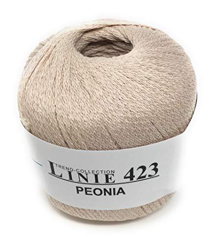 ONline Linie 423, Peonia,Seidig Glänzendes Netzgarn, 50 Gramm, Zum Häkeln  Stricken, Farbe 002 Beige