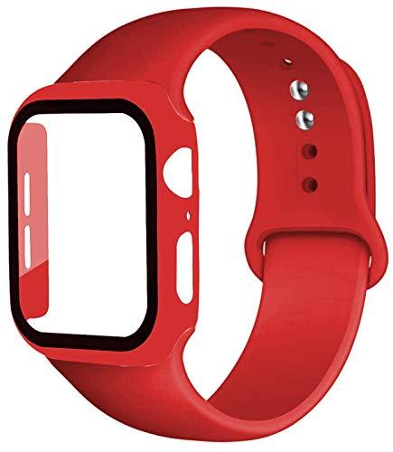 FAAGFC Caja de la Correa + Vidrio + for la Banda de Reloj de Apple iWatch Banda de 40 mm 44 mm 42 mm 38 mm de Silicona Tope + Pulsera de Reloj de la Manzana 5 4 3 2 1 38 42